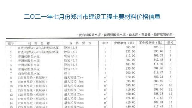 2021年7月份郑州市商品混凝土信息价