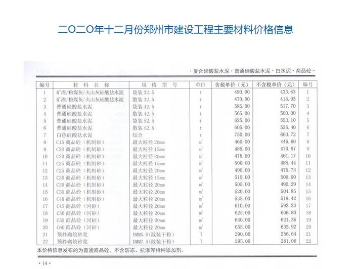 2020年12月份郑州商品混凝土信息价