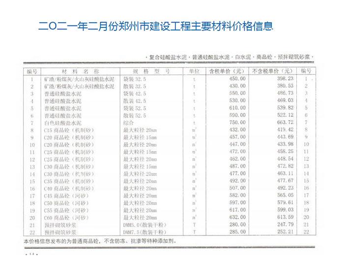 2021年2月郑州混凝土商品混凝土信息价