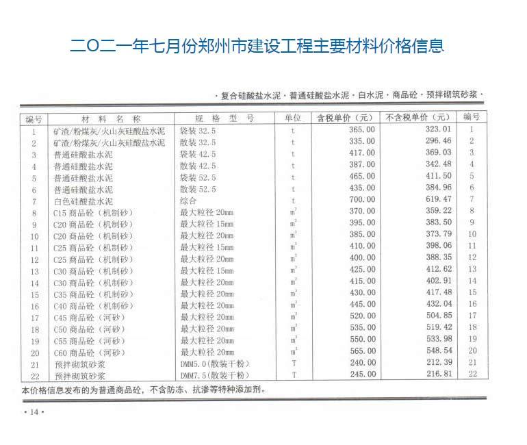 2021年7月份郑州商品混凝土信息价