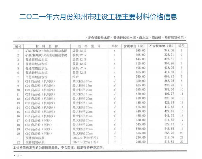 2021年6月份郑州商品混凝土信息价