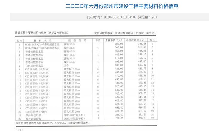 2020年6月份郑州混凝土信息价